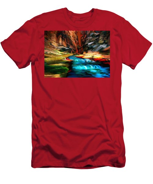 Canyon Waterfall Impressions Men's T-Shirt (Slim Fit) by Bob and Nadine Johnston