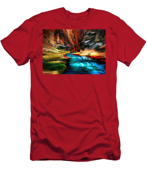 Canyon Waterfall Impressions Men's T-Shirt (Athletic Fit)