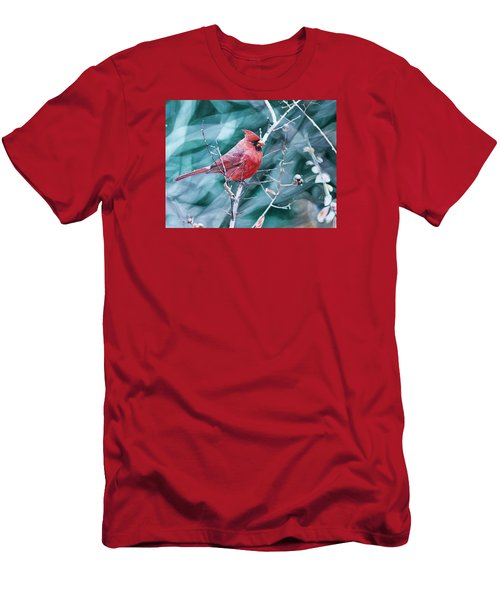 Cardinal In Winter Men's T-Shirt (Athletic Fit)