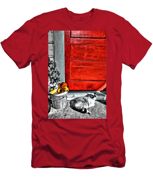 Cat By The Red Door Men's T-Shirt (Athletic Fit)