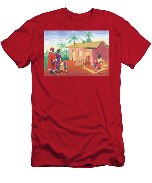 Men's T-Shirt (Slim Fit) featuring the painting Celebration Of The Nativity In Cameroon by Emmanuel Baliyanga