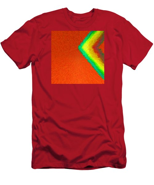 Chevron Rainbow Orange C2014 Men's T-Shirt (Slim Fit) by Paul Ashby