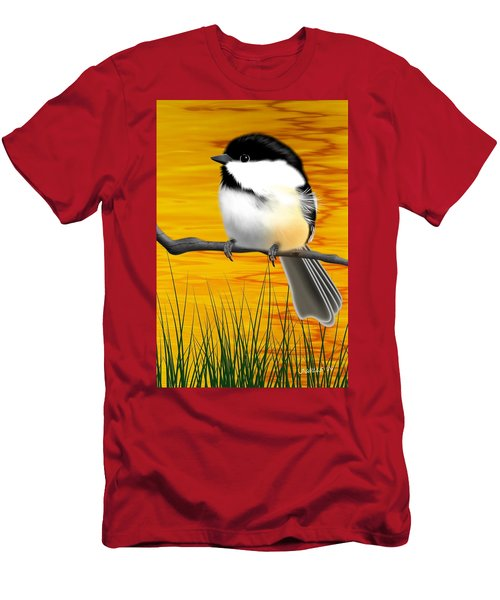 Chickadee On A Branch Men's T-Shirt (Athletic Fit)