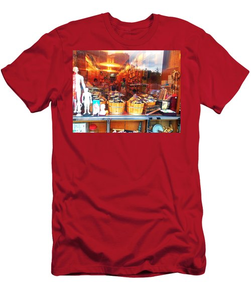 Men's T-Shirt (Slim Fit) featuring the photograph Chinatown Nyc Herb Shop by Joan Reese
