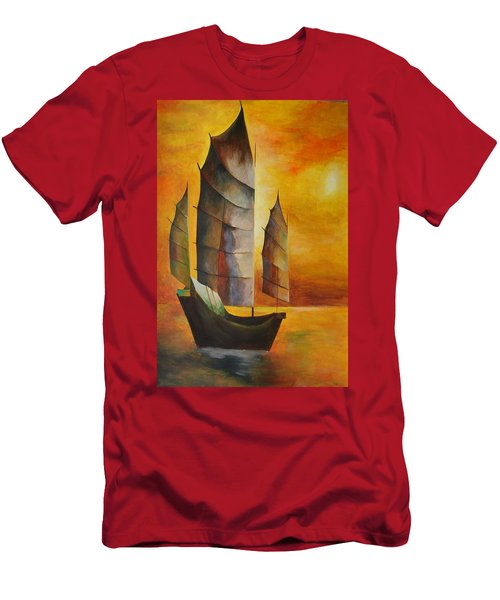 Chinese Junk In Ochre Men's T-Shirt (Athletic Fit)