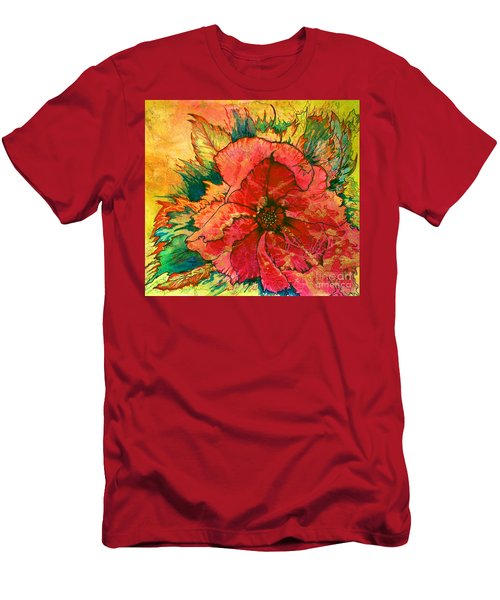 Men's T-Shirt (Athletic Fit) featuring the painting Christmas Flower by Nancy Cupp