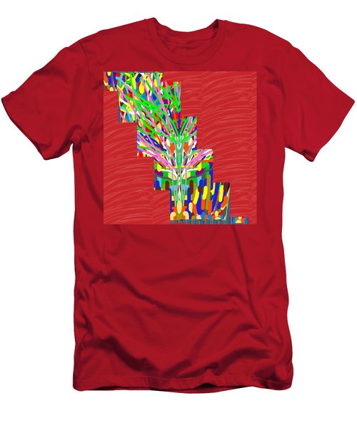 Men's T-Shirt (Slim Fit) featuring the photograph Colorful Tree Of Life Abstract Red Sparkle Base by Navin Joshi