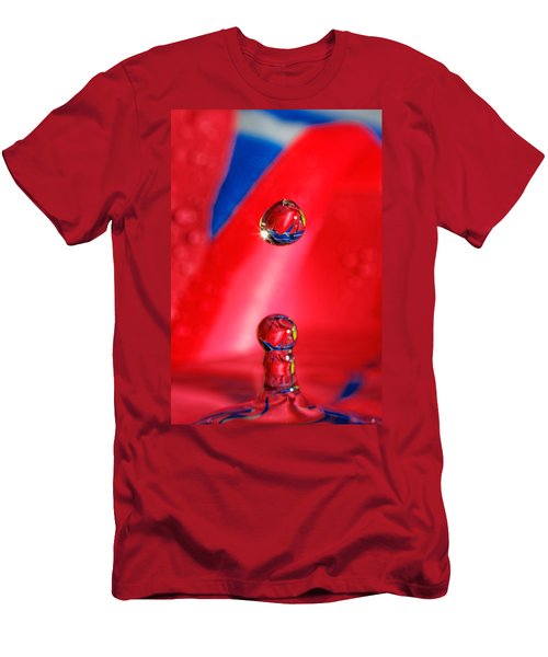 Men's T-Shirt (Slim Fit) featuring the photograph Colorful Water Drop by Peter Lakomy