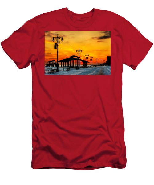 Coney Island Winter Sunset Men's T-Shirt (Athletic Fit)