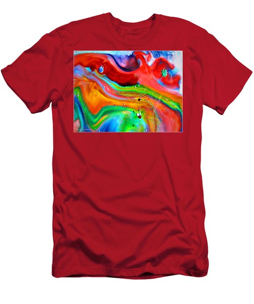 Men's T-Shirt (Slim Fit) featuring the painting Cosmic Lights by Joyce Dickens