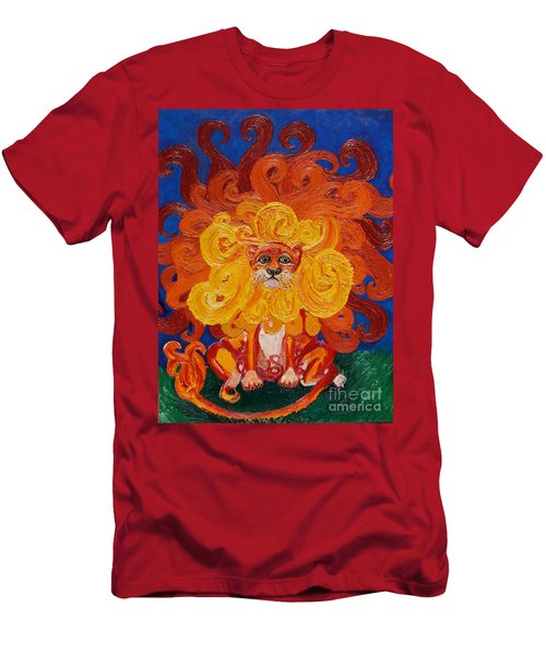 Men's T-Shirt (Slim Fit) featuring the painting Cosmic Lion by Cassandra Buckley