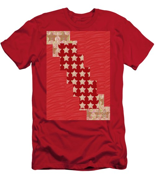 Cross Through Sparkle Stars On Red Silken Base Men's T-Shirt (Athletic Fit)