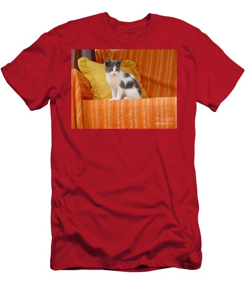 Men's T-Shirt (Slim Fit) featuring the photograph Cute Kitty by Vicki Spindler