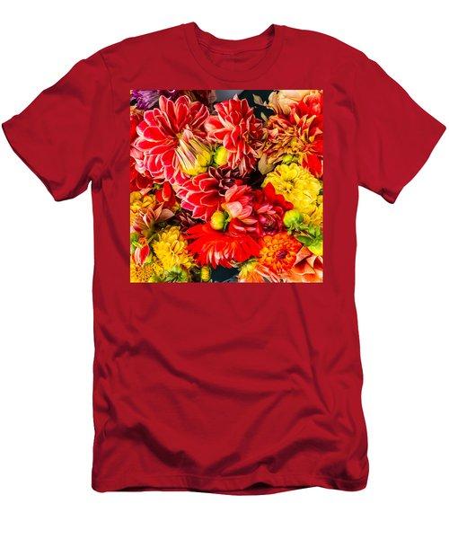 Dahlias Summer Color Men's T-Shirt (Athletic Fit)
