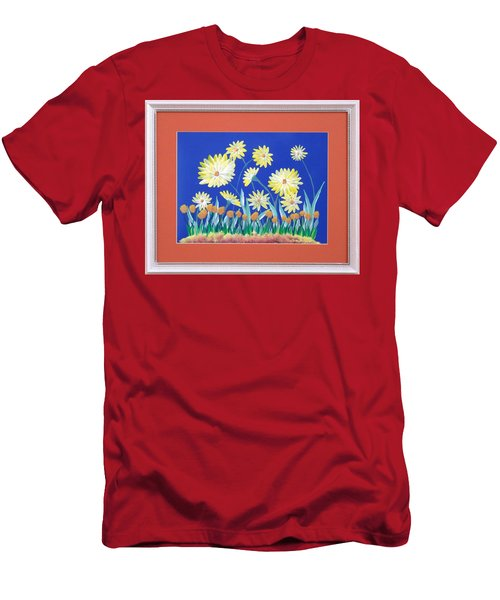 Men's T-Shirt (Slim Fit) featuring the painting Daisies by Ron Davidson
