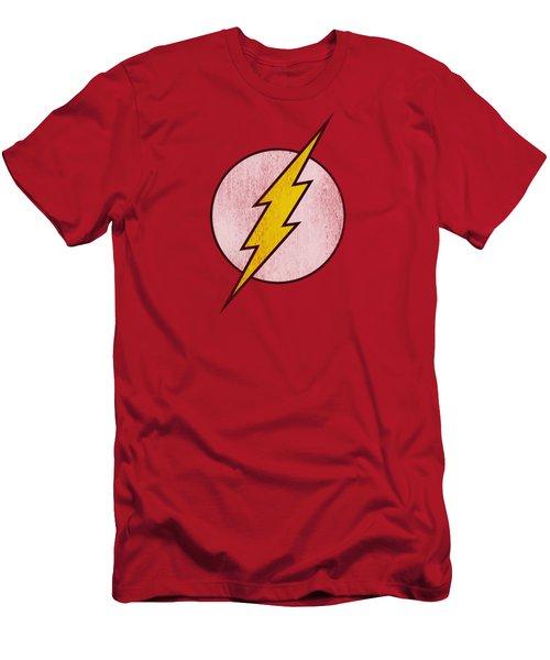 Dc - Flash Logo Distressed Men's T-Shirt (Athletic Fit)