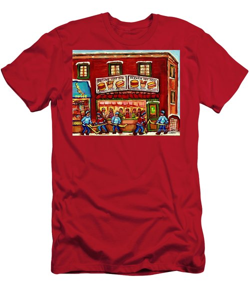 Decarie Hot Dog Restaurant Cosmix Comic Store Montreal Paintings Hockey Art Winter Scenes C Spandau Men's T-Shirt (Athletic Fit)