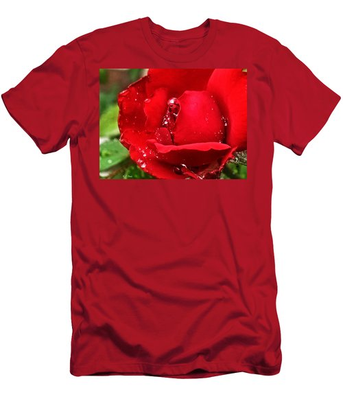 Dew Drops On Red Men's T-Shirt (Athletic Fit)