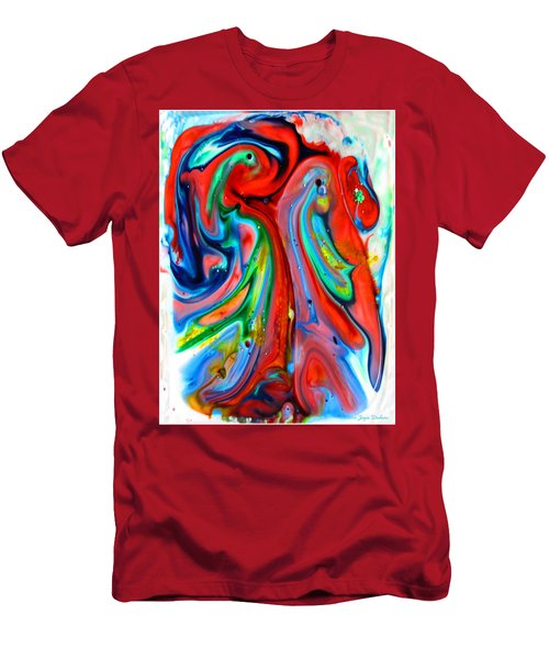 Men's T-Shirt (Slim Fit) featuring the painting Dont Worry  Be Happy by Joyce Dickens