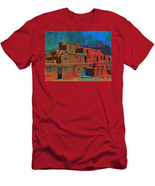 Men's T-Shirt (Athletic Fit) featuring the mixed media Dreams Of Taos by Michelle Dallocchio