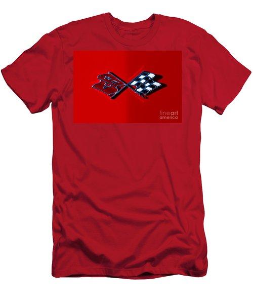 Early C3 Corvette Emblem Red Men's T-Shirt (Athletic Fit)