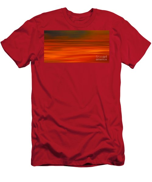 Men's T-Shirt (Slim Fit) featuring the digital art Abstract Earth Motion Sun Burnt by Linsey Williams
