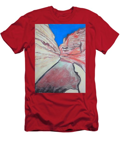 Men's T-Shirt (Slim Fit) featuring the drawing Ein Avdat  by Esther Newman-Cohen