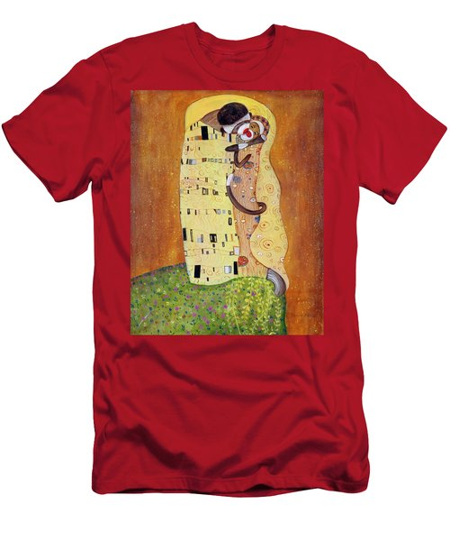 Men's T-Shirt (Slim Fit) featuring the painting The Smooch by Randol Burns
