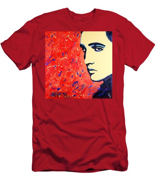 Men's T-Shirt (Athletic Fit) featuring the painting Elvis Presley - Red Blue Drip by Bob Baker