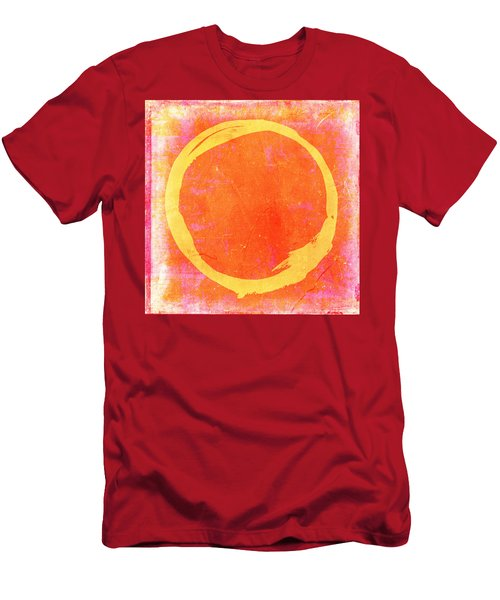 Enso No. 109 Yellow On Pink And Orange Men's T-Shirt (Athletic Fit)