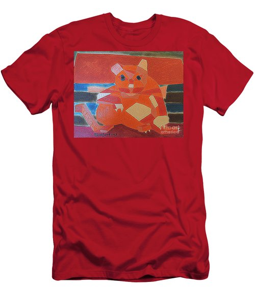Men's T-Shirt (Slim Fit) featuring the painting Fat Cat On A Hot Chaise Lounge by Richard W Linford