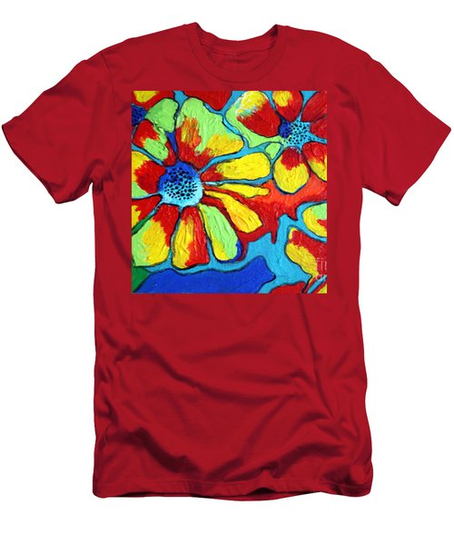 Men's T-Shirt (Slim Fit) featuring the painting Floating Flowers by Alison Caltrider