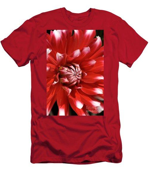 Flower- Dahlia-red-white Men's T-Shirt (Athletic Fit)