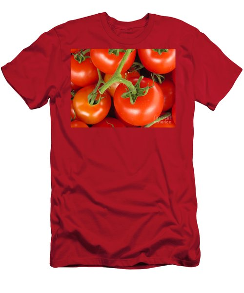 Men's T-Shirt (Slim Fit) featuring the photograph Fresh Whole Tomatos On Vine by David Millenheft