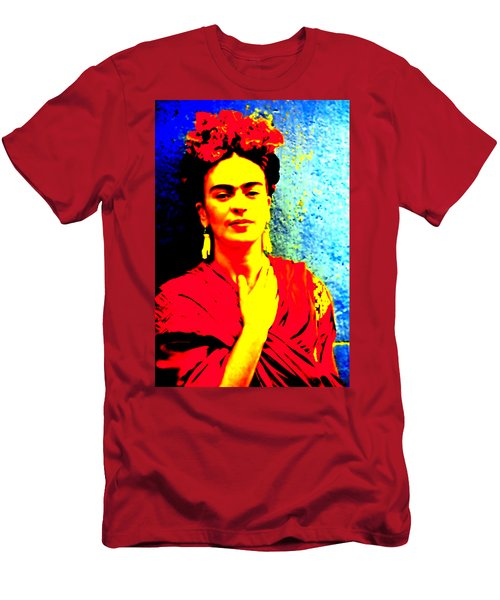 Men's T-Shirt (Athletic Fit) featuring the mixed media Funky Frida IIi by Michelle Dallocchio