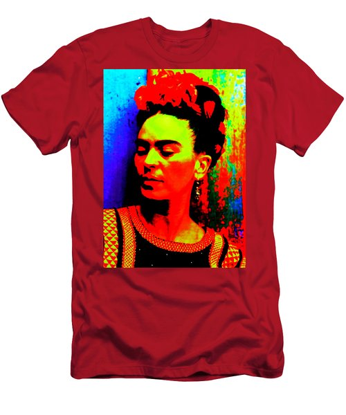 Men's T-Shirt (Athletic Fit) featuring the mixed media Funky Frida by Michelle Dallocchio