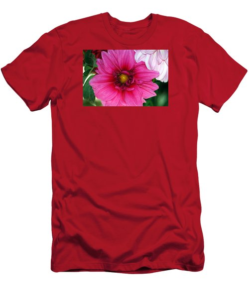 Men's T-Shirt (Slim Fit) featuring the photograph Fushia Pink Dahlia by Lehua Pekelo-Stearns