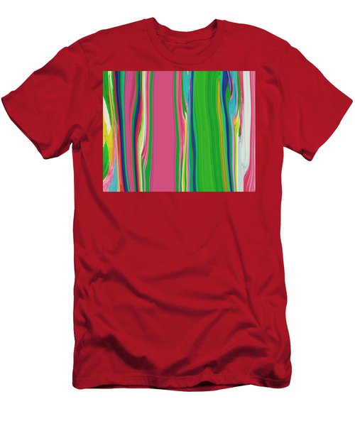 Men's T-Shirt (Slim Fit) featuring the painting Garden Stripes  C2014 by Paul Ashby