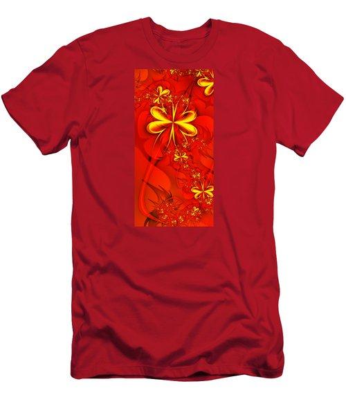 Gold Flowers Men's T-Shirt (Slim Fit) by Lena Auxier