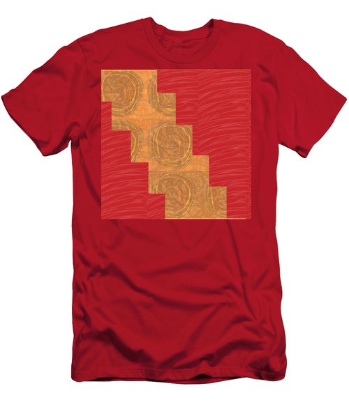 Men's T-Shirt (Slim Fit) featuring the photograph Golden Circles Red Sparkle  by Navin Joshi