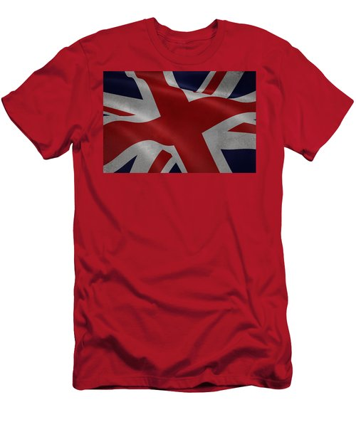 Great Britains Flag Waving On Canvas Men's T-Shirt (Athletic Fit)