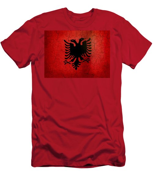 Grunge Albania Flag Men's T-Shirt (Athletic Fit)
