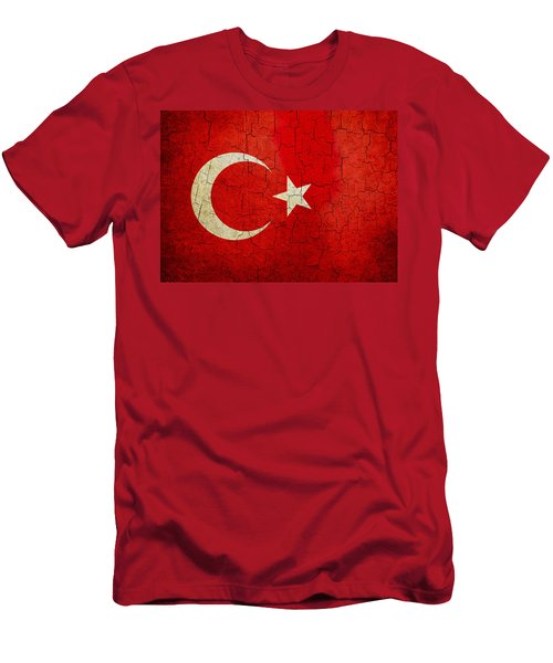 Grunge Turkey Flag Men's T-Shirt (Athletic Fit)