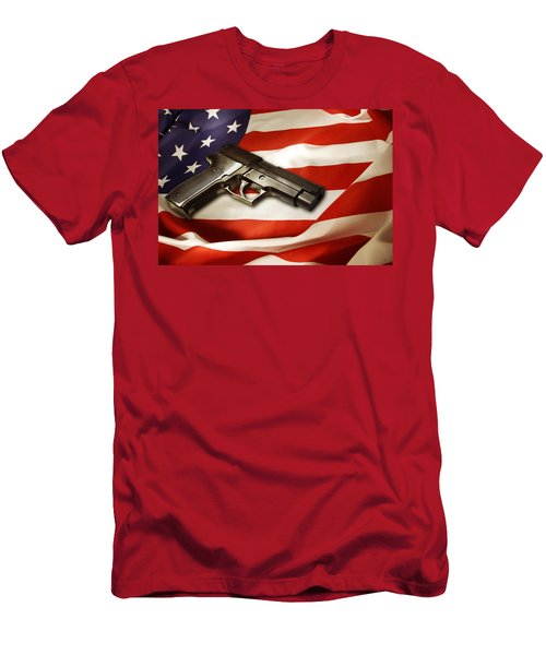 Gun On Flag Men's T-Shirt (Athletic Fit)