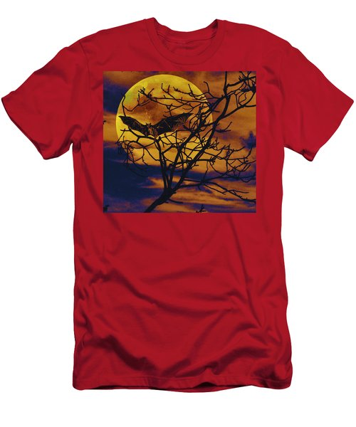 Men's T-Shirt (Slim Fit) featuring the painting Halloween Full Moon Terror by David Mckinney