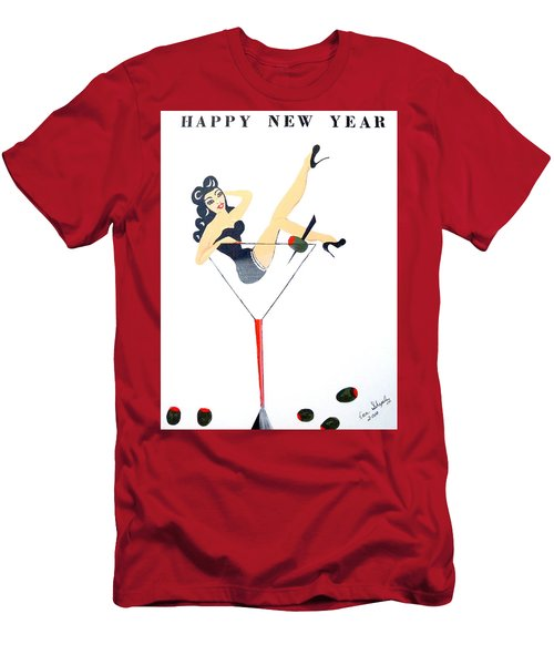 Men's T-Shirt (Slim Fit) featuring the painting Happy New Year by Nora Shepley