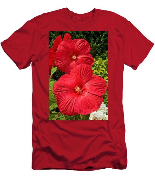 Hardy Hibiscus Men's T-Shirt (Slim Fit) by Sue Smith