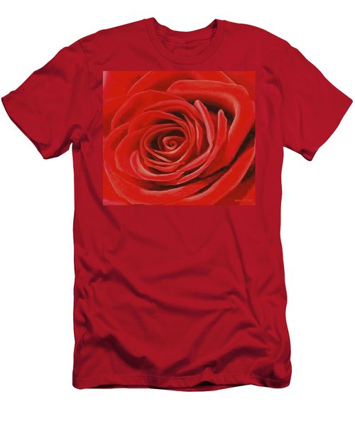 Men's T-Shirt (Slim Fit) featuring the painting Heart Of A Red Rose by Sophia Schmierer