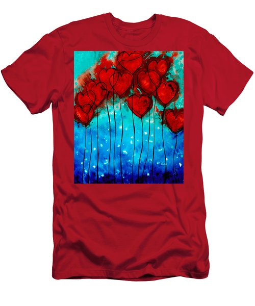 Hearts On Fire - Romantic Art By Sharon Cummings Men's T-Shirt (Athletic Fit)