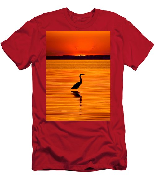 Heron With Burnt Sienna Sunset Men's T-Shirt (Athletic Fit)